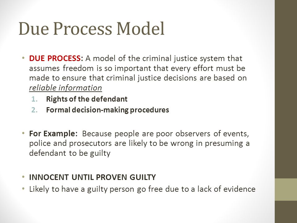 crime control and due process models of criminal justice