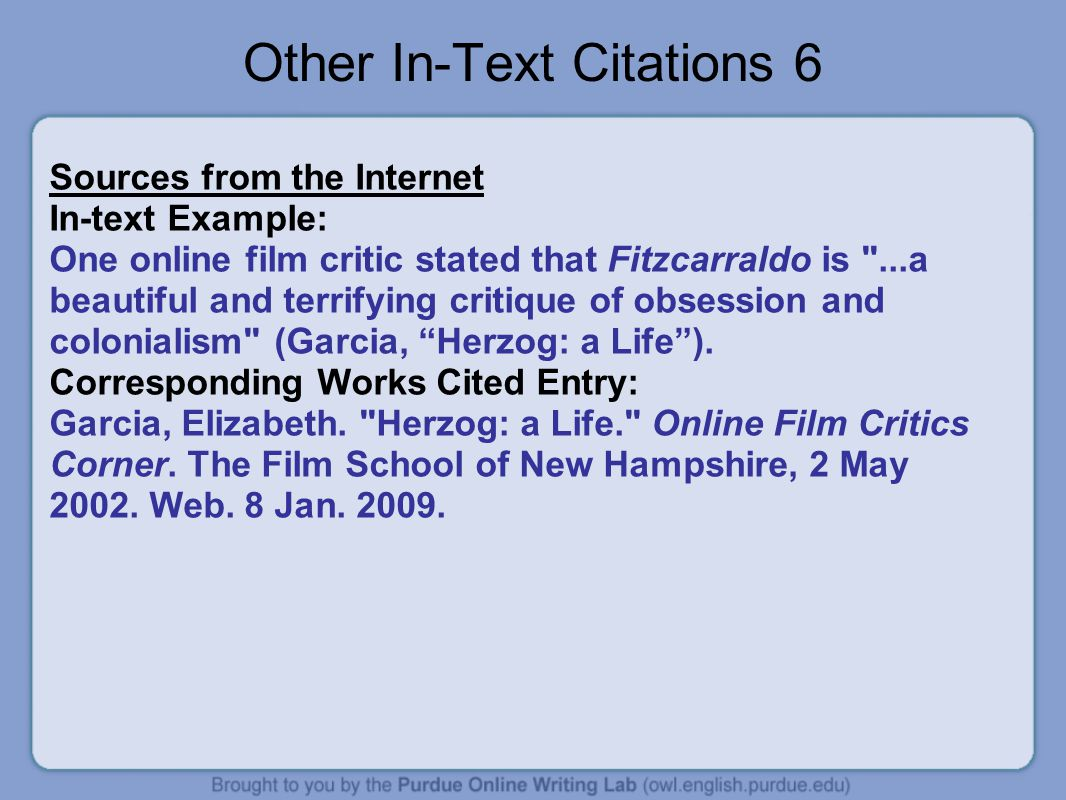 Parenthetical Citation Internet Sources