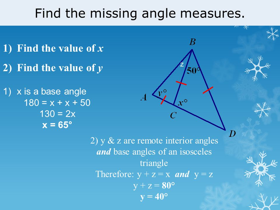 Classify Triangles And Find Measures Of Their Angles