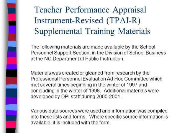 Teacher Performance Appraisal Instrument-Revised (TPAI-R ...