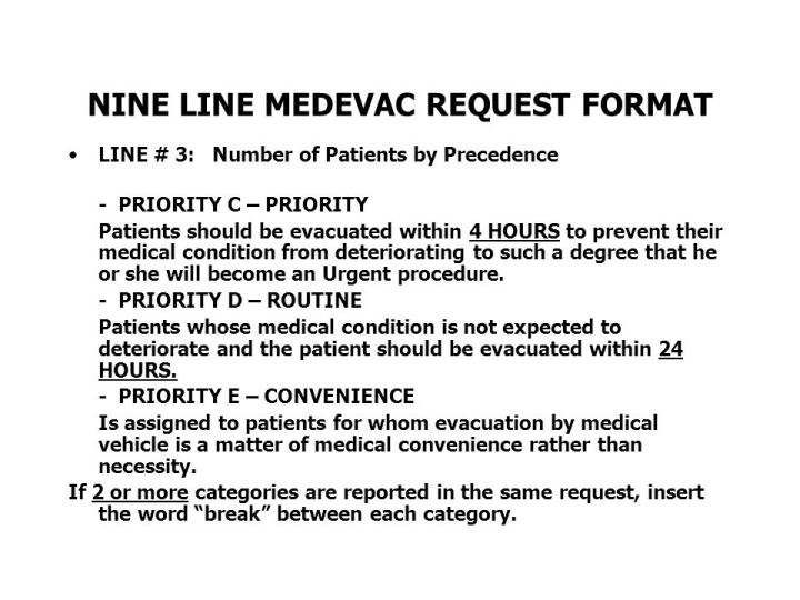 9 Line Medevac Card With Brevity Codes