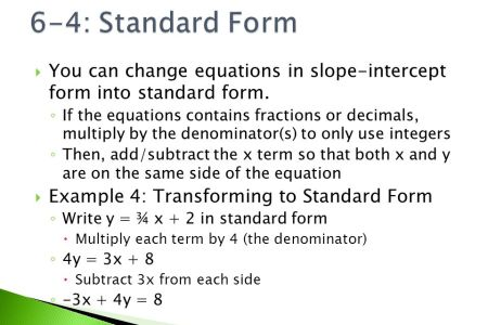 Free Application Forms How To Change An Equation To Slope