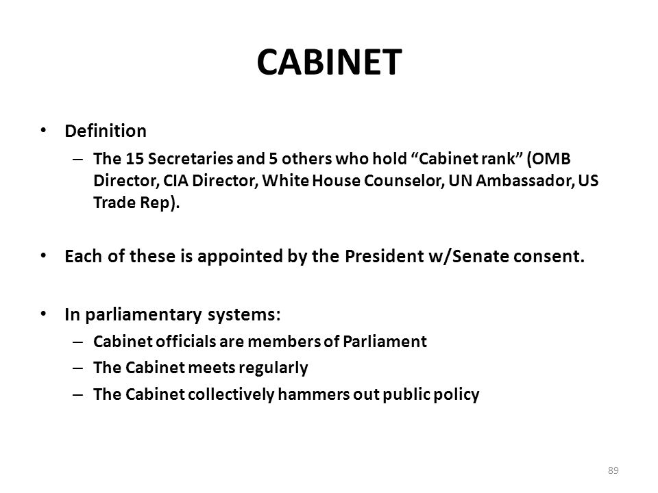 Attractive 89 Cabinet Definition. Institutions Of Government Congress And The  Presidency Ppt