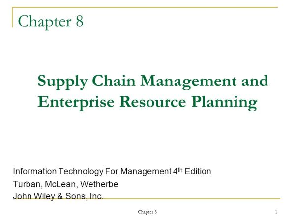 Supply Chain Management and Enterprise Resource Planning ...