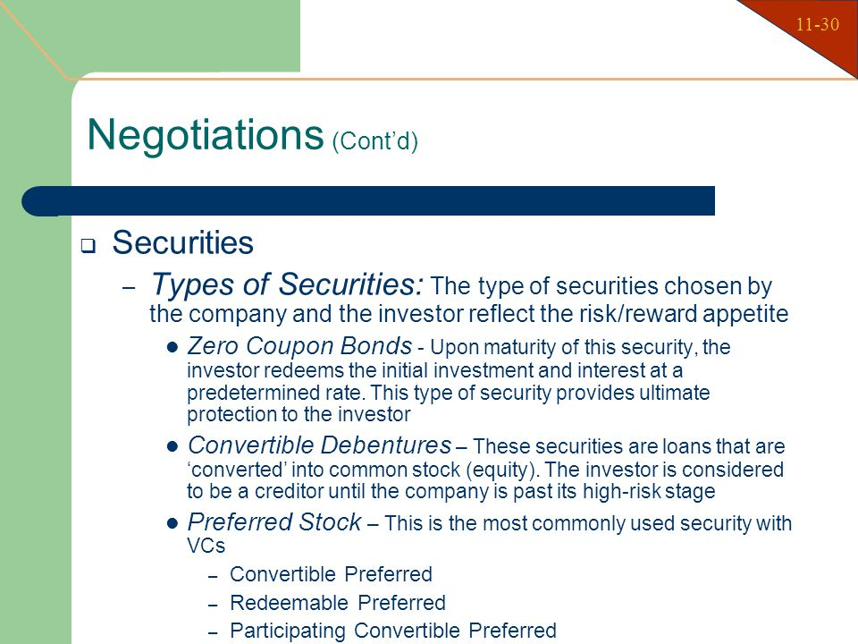Types Ownership Securities