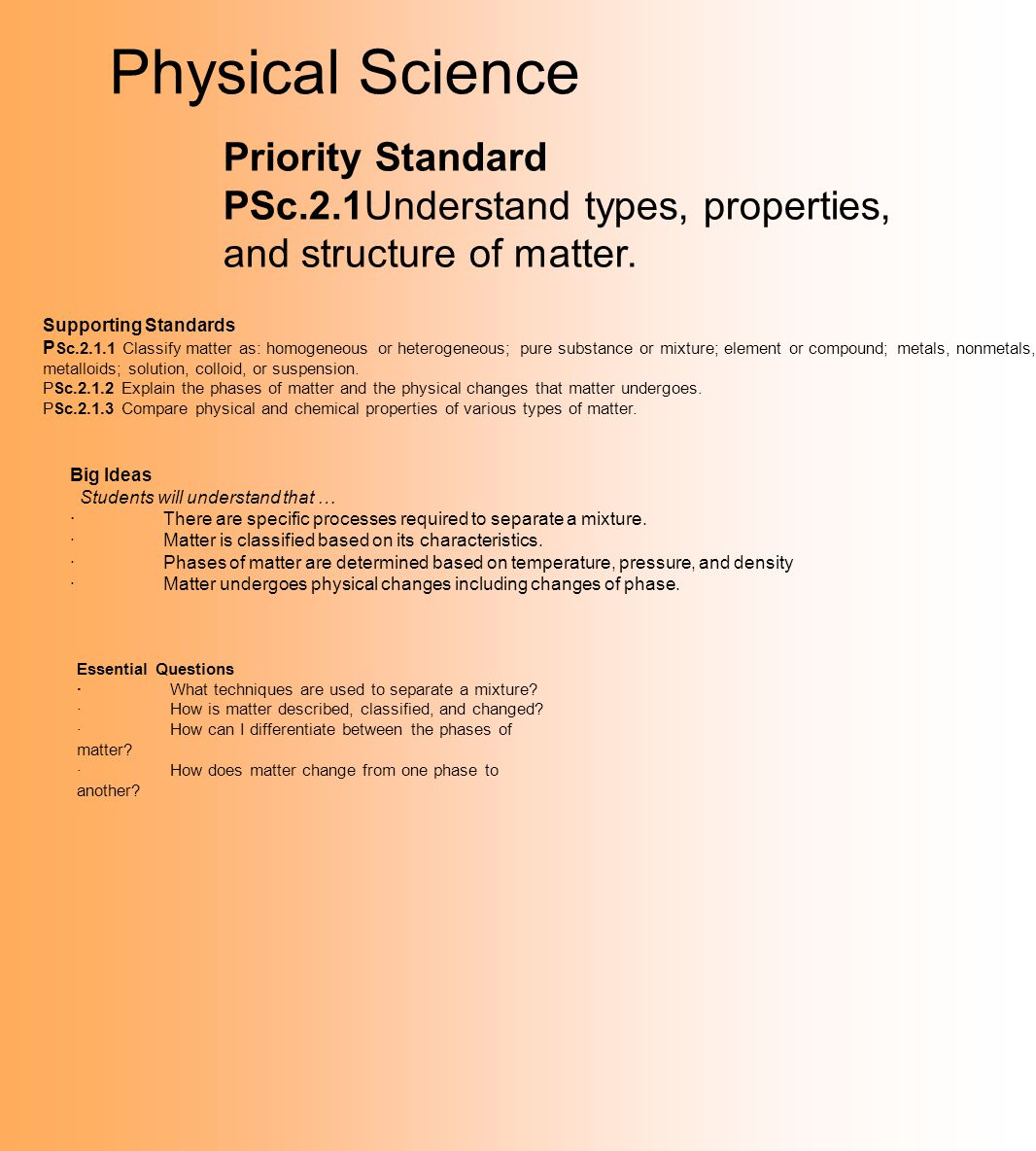 Physical Science Priority Standard