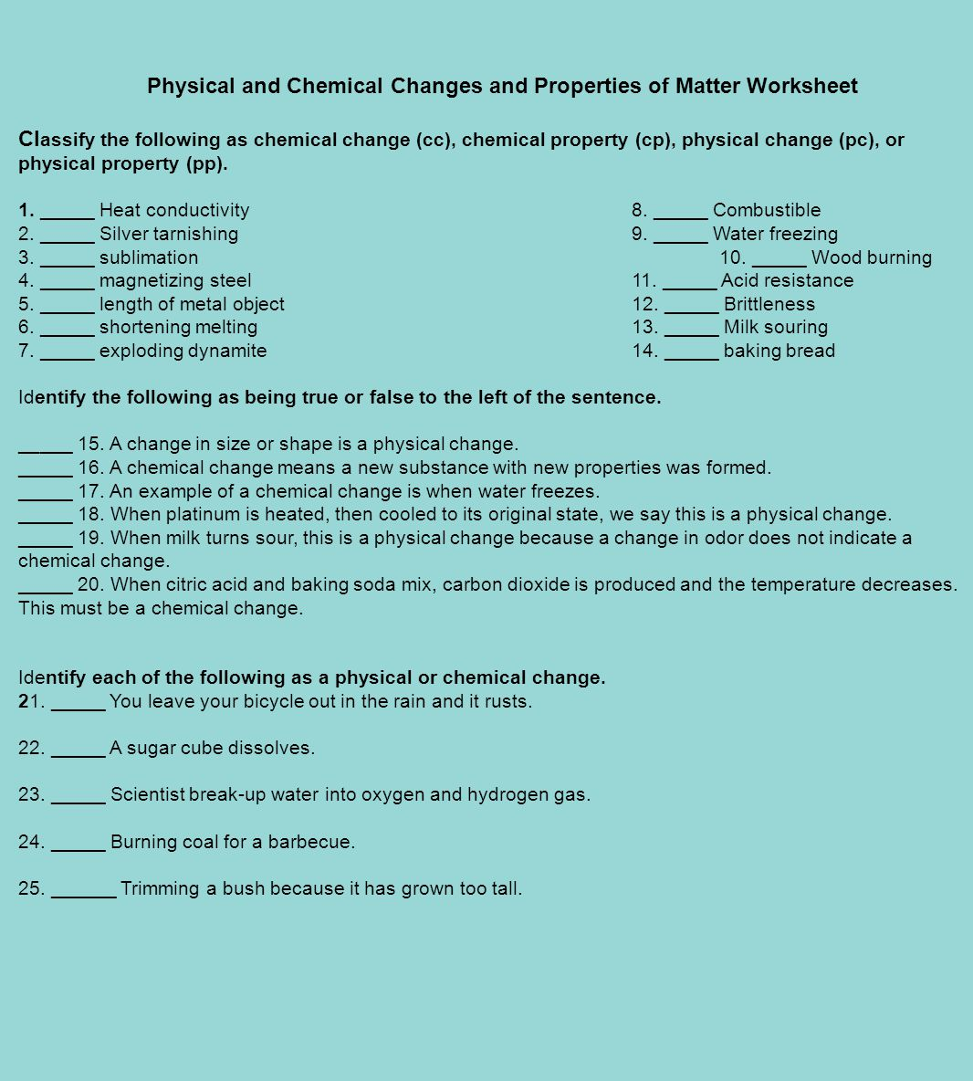 Physical Properties Of Water Worksheet