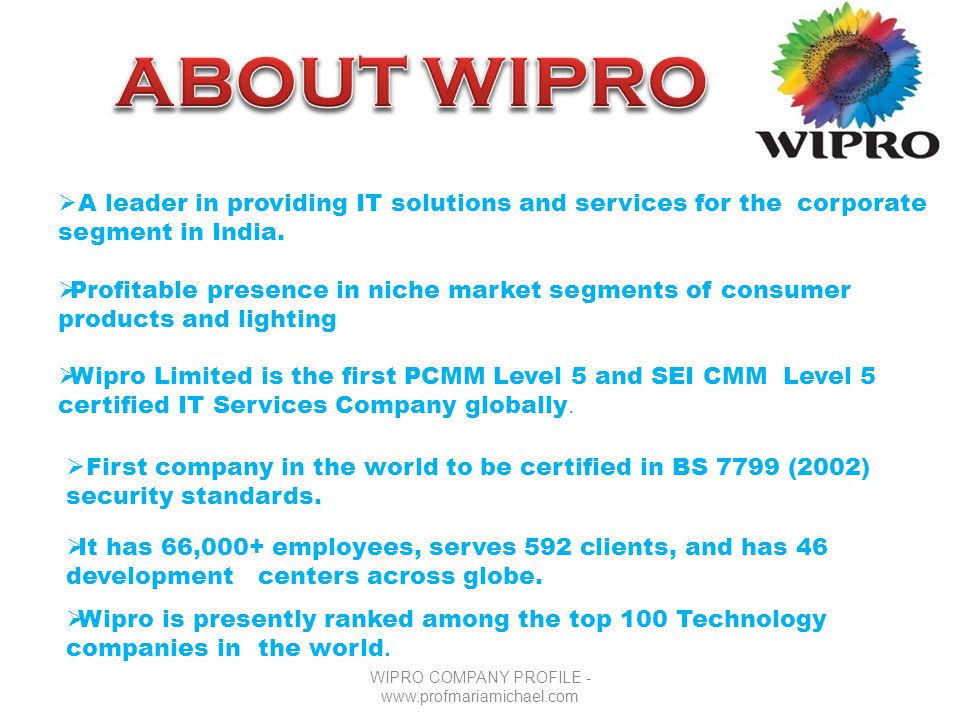 WIPRO COMPANY PROFILE Ppt Video Online Download