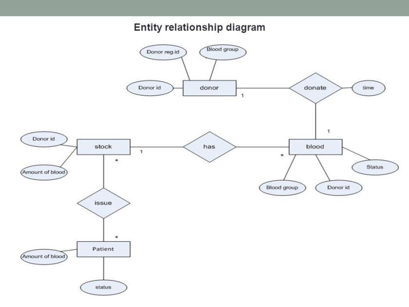 6 entity relationship diagram blood bank management system ppt online - Er Diagram For Online Banking System