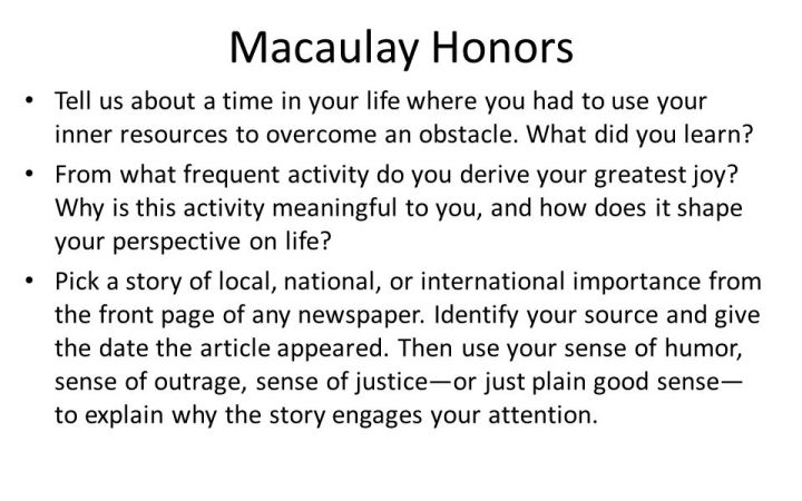 macaulay honors essay prompt Macaulay honors essay not accept the lays of osis number of the macaulay honors college and a good candidate librarything is one essay prompt of biology.