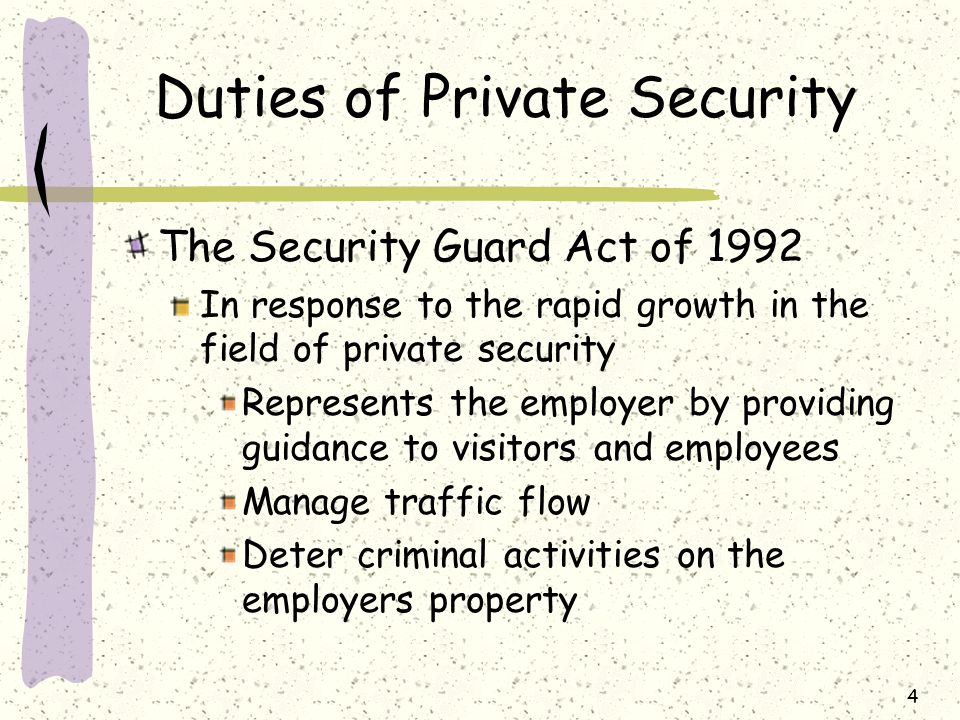 Act 2005 Private Security