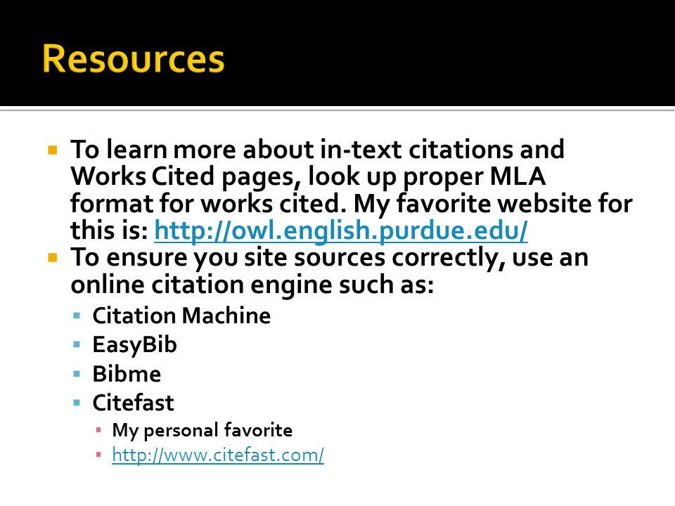 correct mla format websites