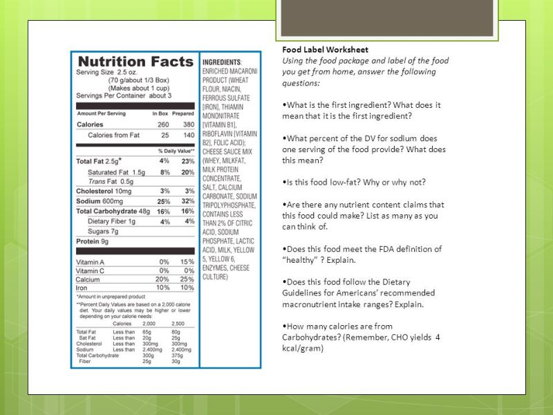 nutrition label worksheet answer key besto blog. Black Bedroom Furniture Sets. Home Design Ideas