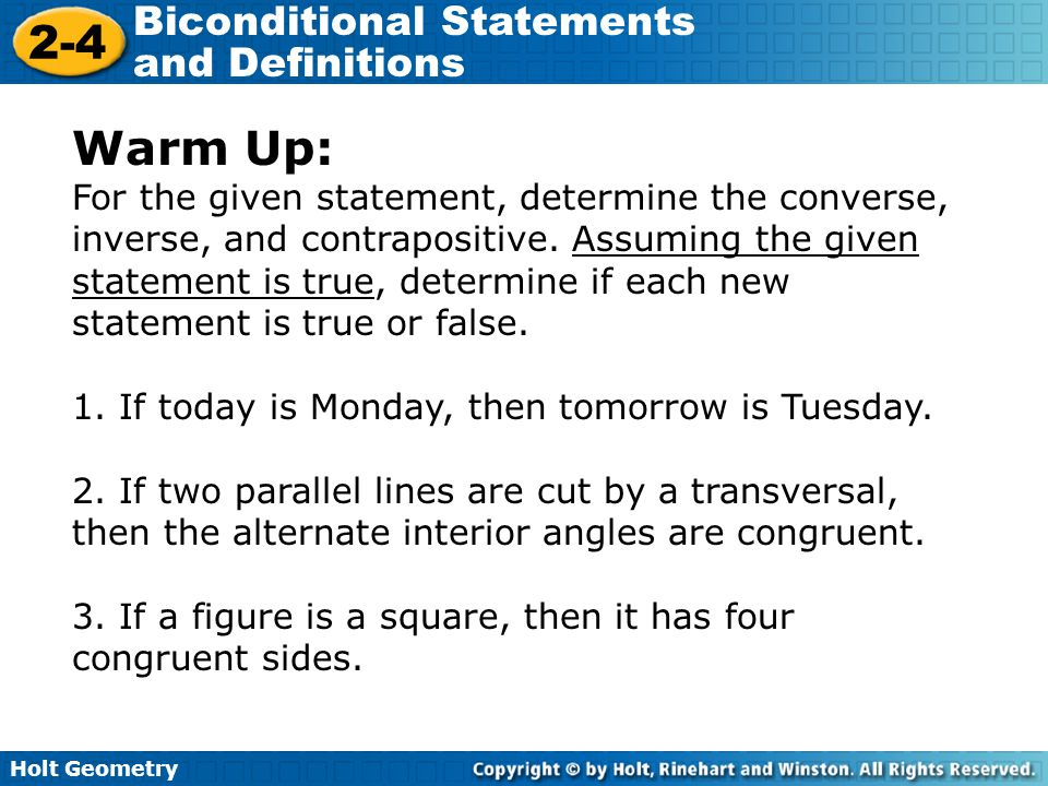 Warm Up For The Given Statement Determine The Converse