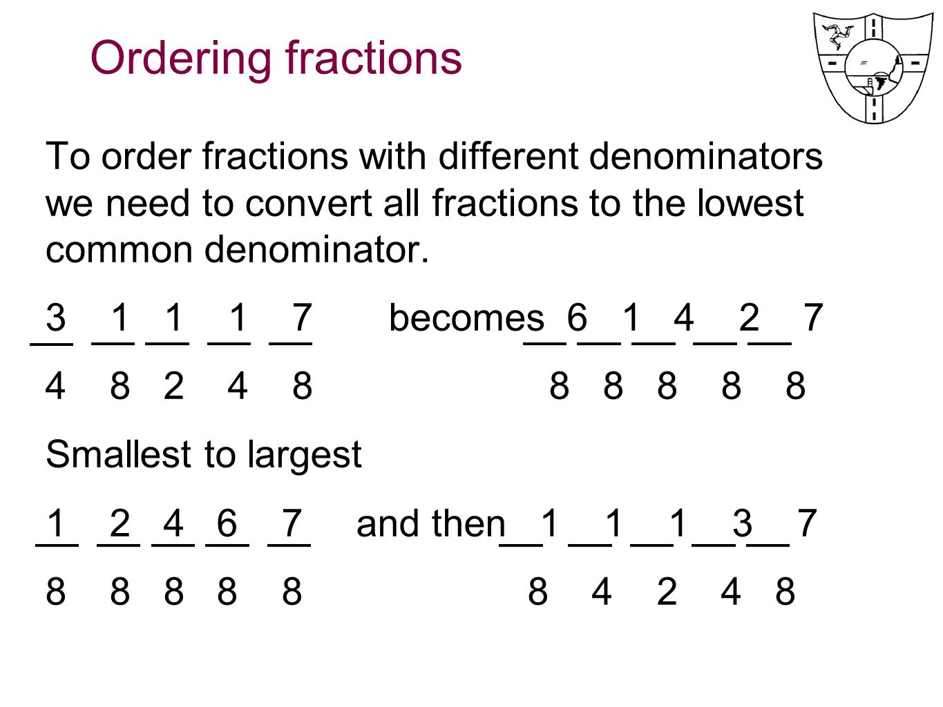 Common Denominator Fractions Worksheet