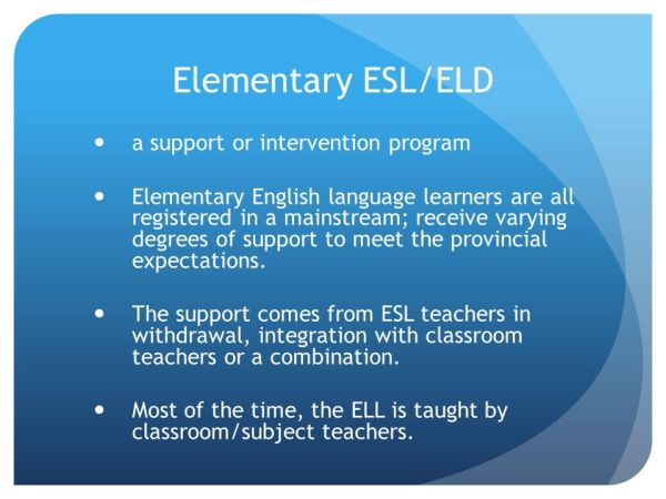 An Introduction to ESL/ELD Programming/Support in K ppt ...