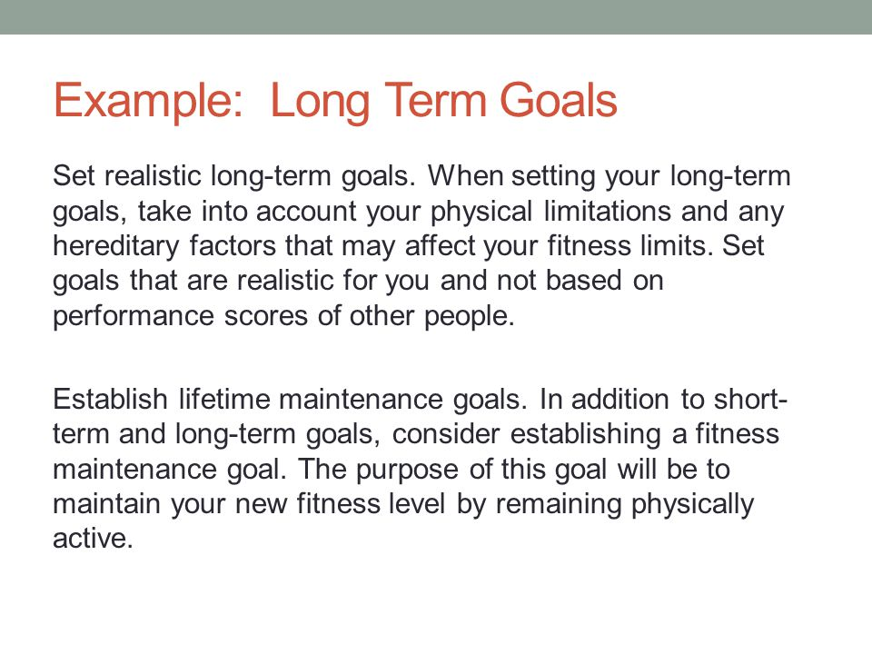 Examples Of Fitness Goals Short Term Fitness and Workout
