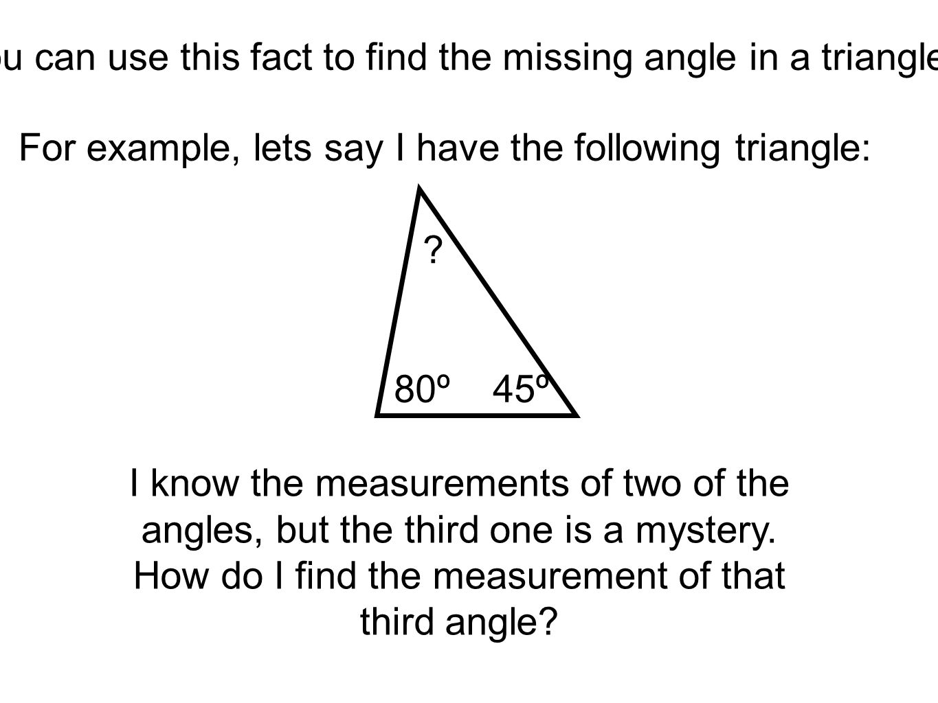 Find The Missing Angle In A