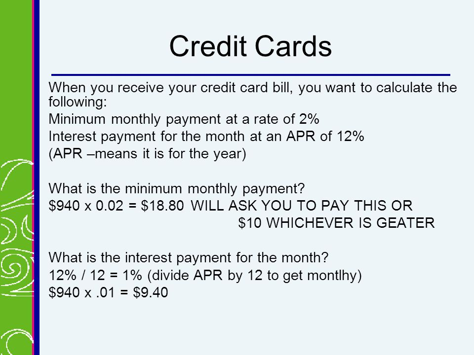 how to calculate monthly payment on credit card Creativecardco