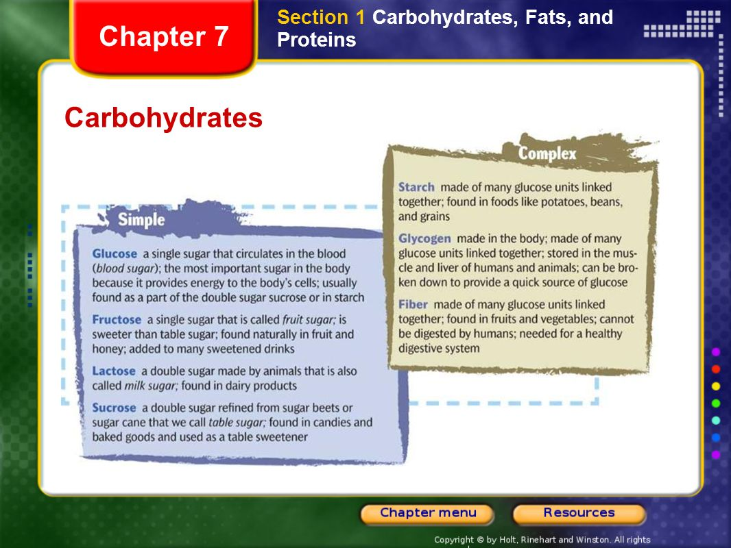 Chapter 7 Contents Section 1 Carbohydrates Fats And Proteins