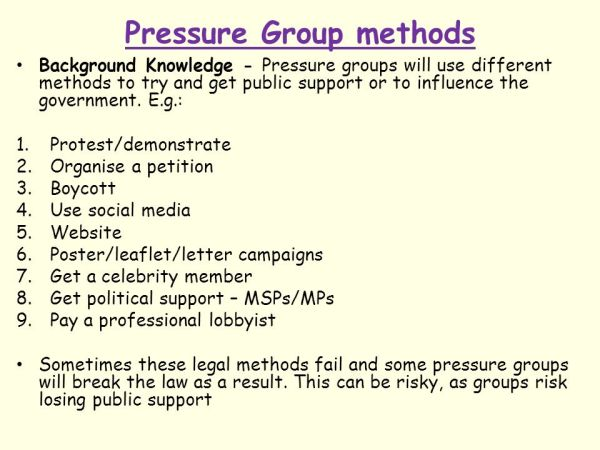 The Role of Pressure Groups in the Political System - ppt ...
