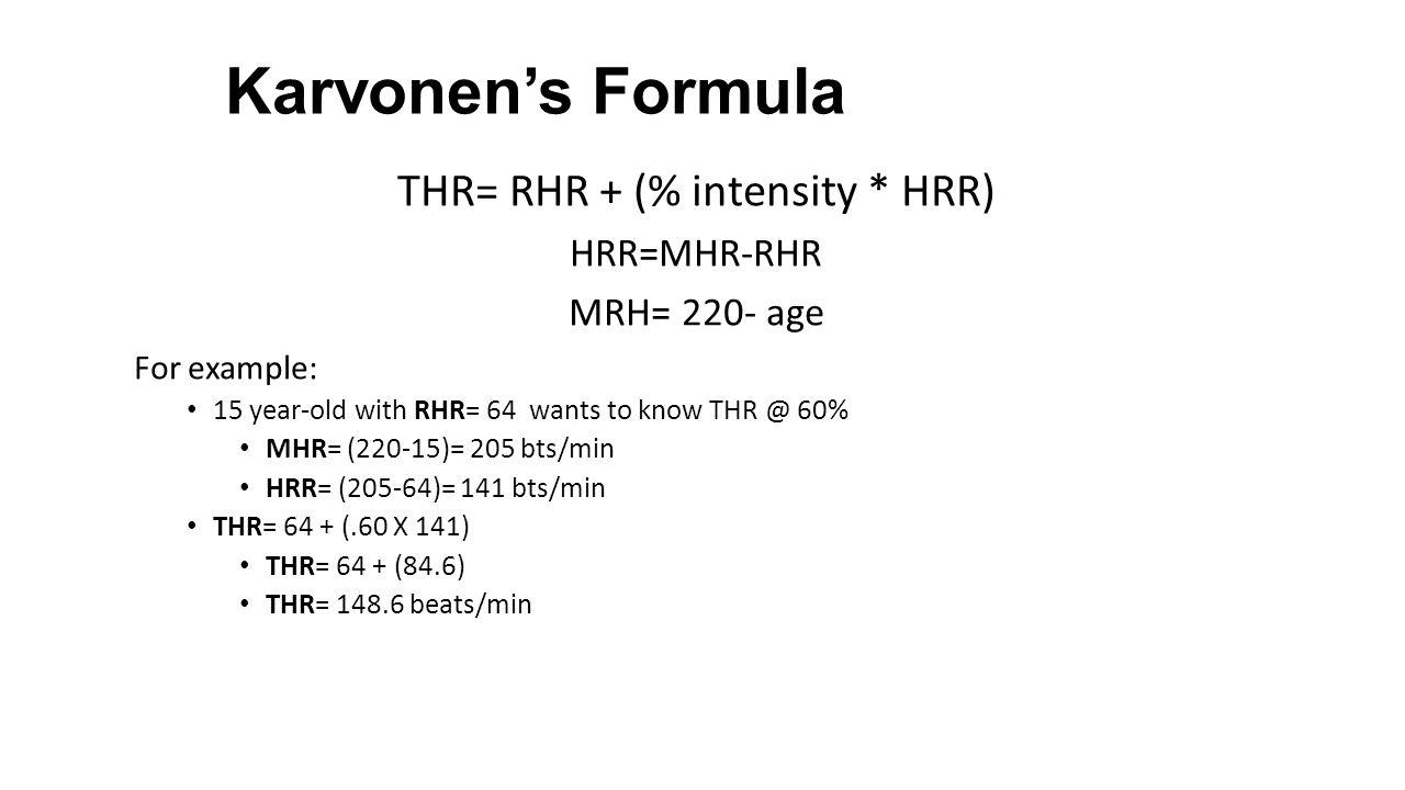 Karvonen Target Heart Rate Formula