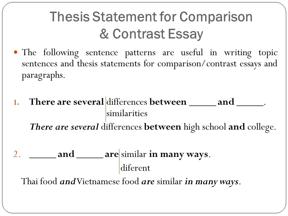 Sample thesis statement for compare and contrast essay