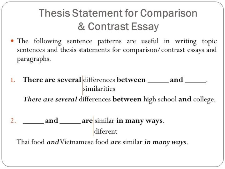how to write a compare and contrast essay topic sentence  comparison contrast essay ppt