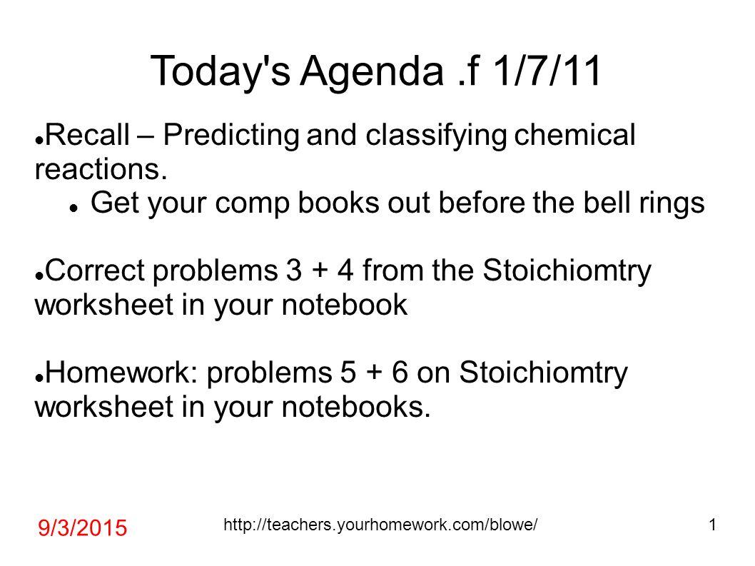 Today S Agenda F 1 7 11 Recall Predicting And