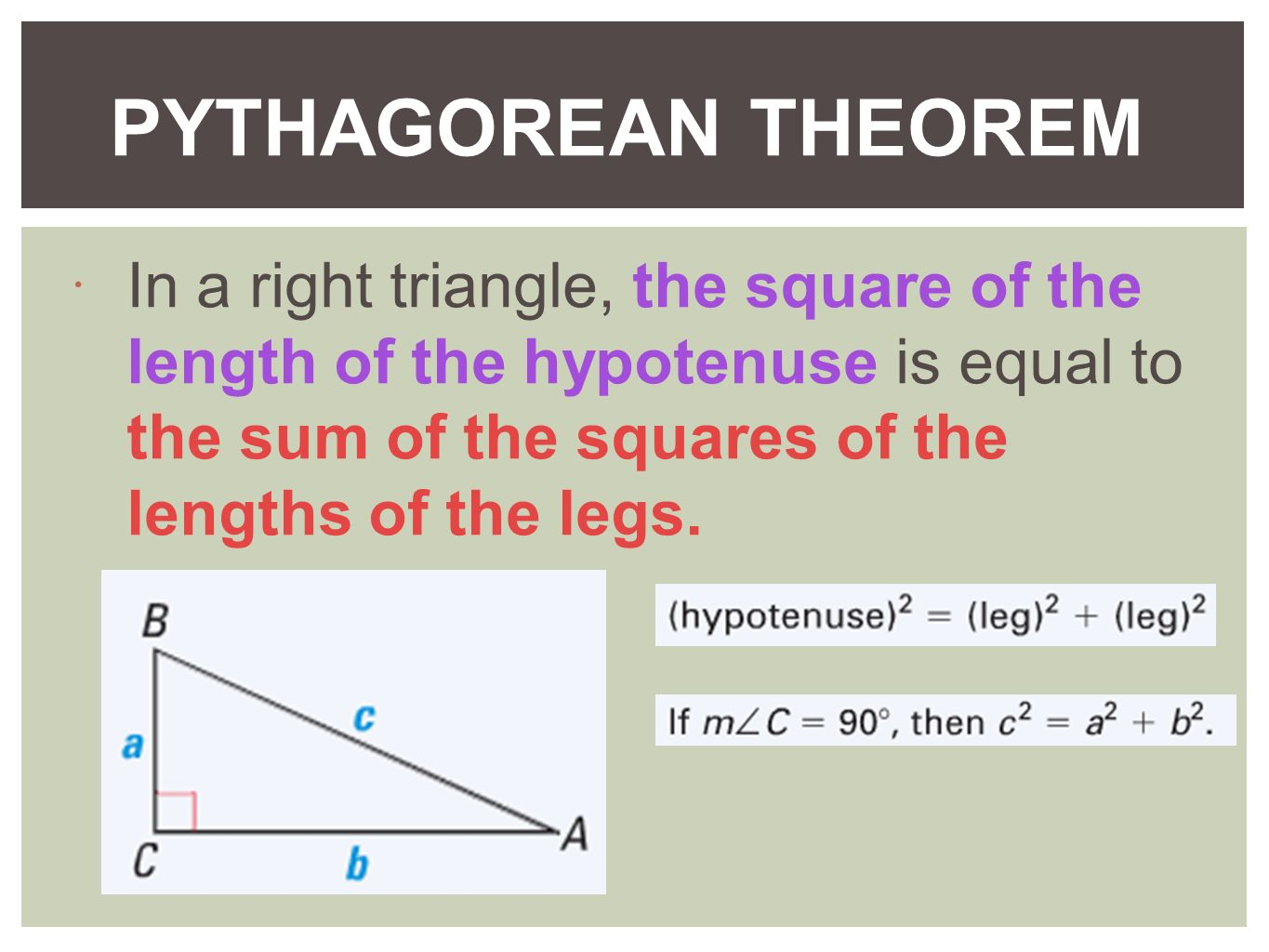 4 4 The Pythagorean Theorem And Distance Formula