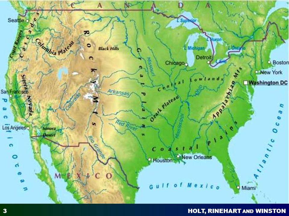 North America Physical Map Isolated On