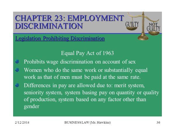 CHAPTER 23: EMPLOYMENT DISCRIMINATION - ppt video online ...
