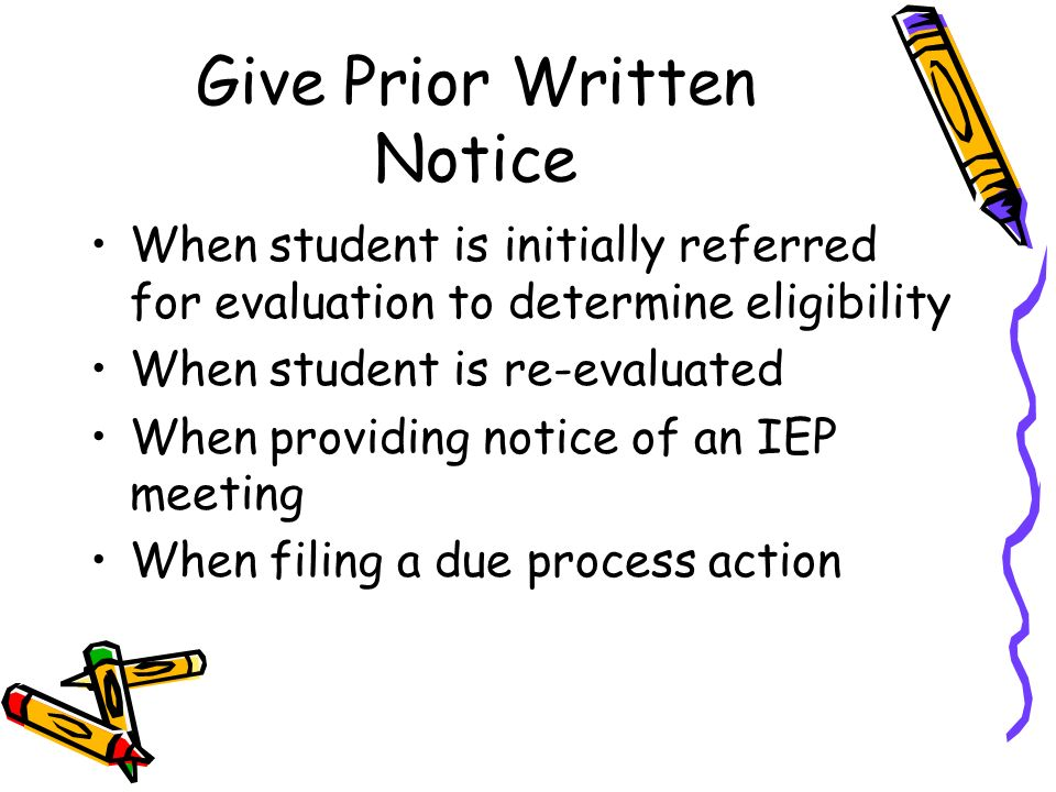 Parents Notice Written Prior