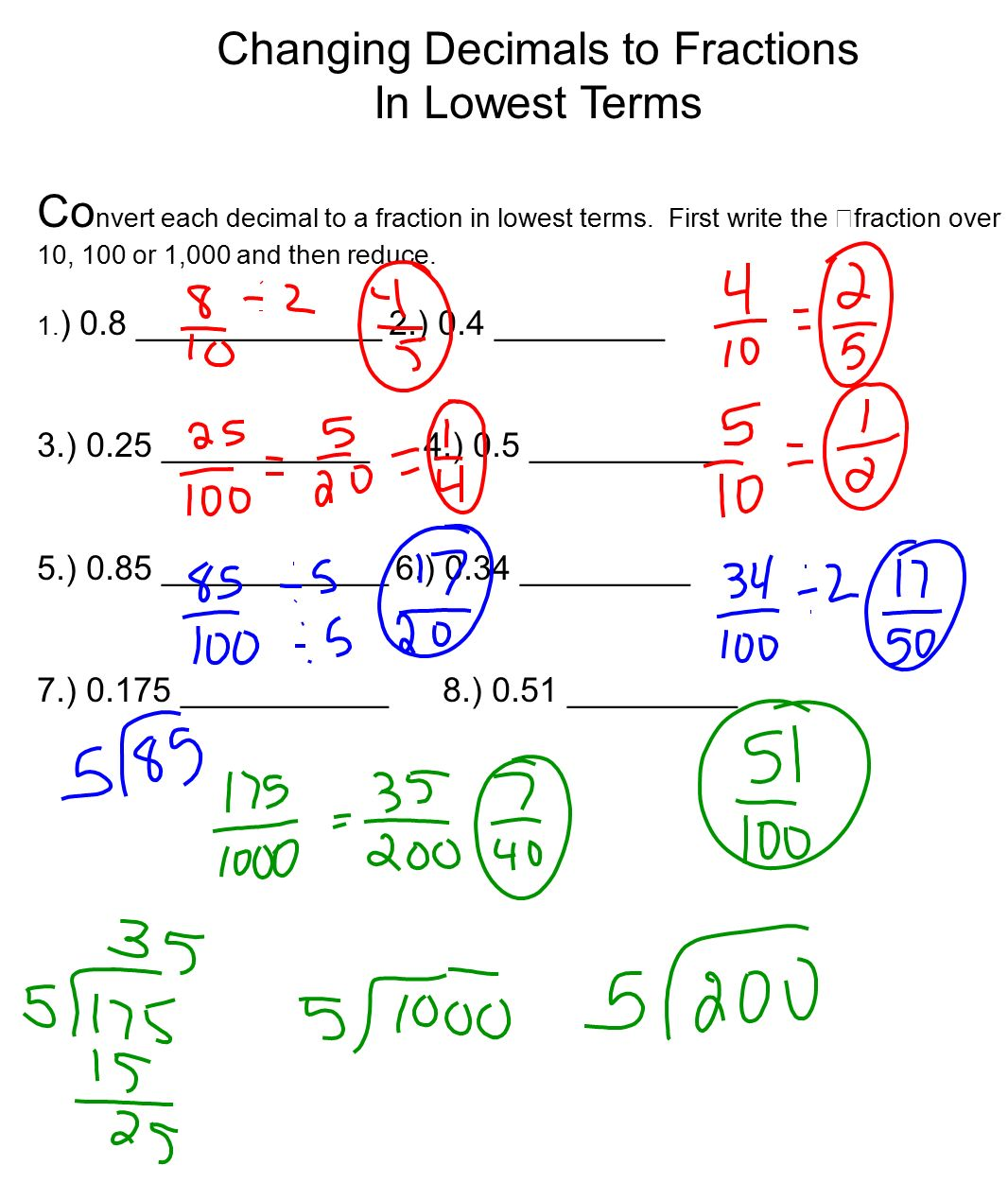 Worksheet Converting Fractions Into Decimals