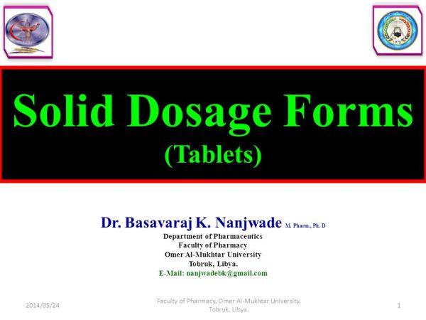 Solid Dosage Forms (Tablets) - ppt video online download