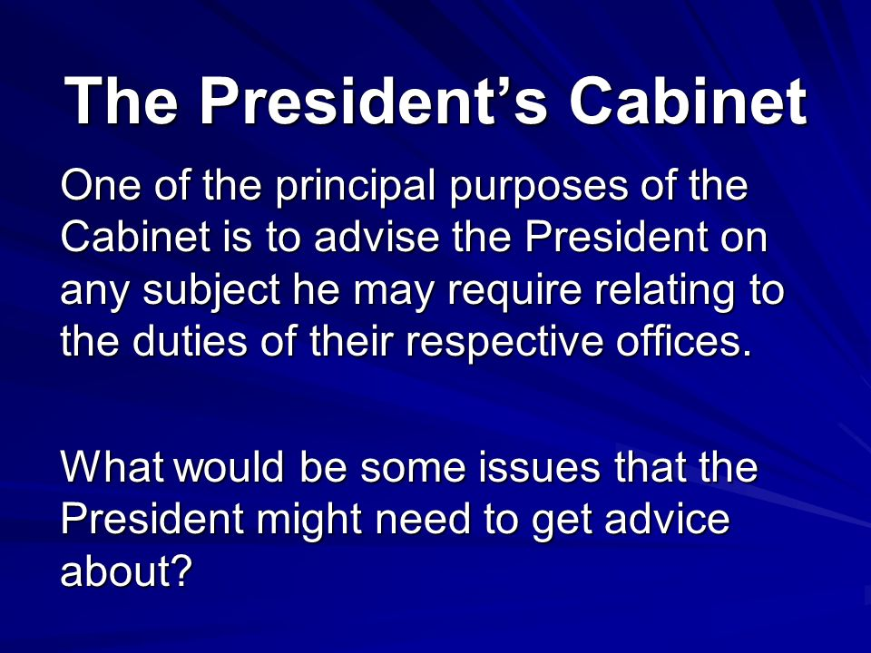 The Presidential Cabinet President S One Of