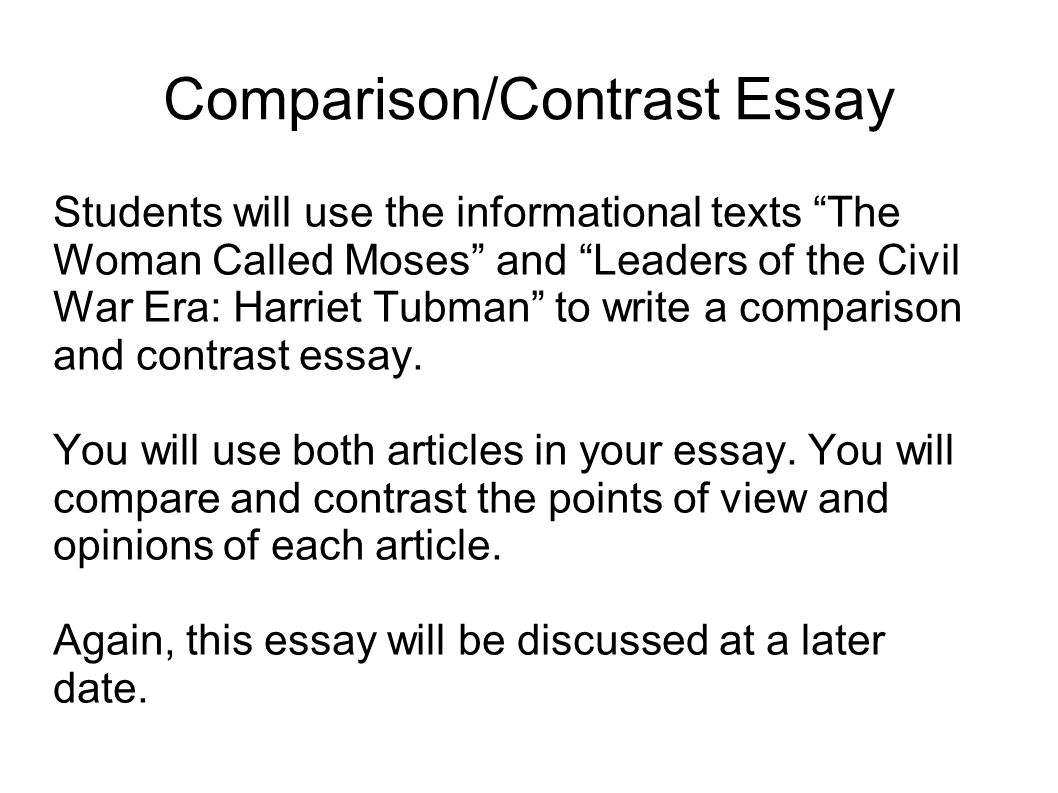 Writing Comparison And Contrast Essays
