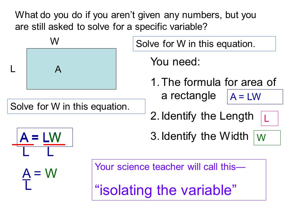 Isolating Variables Equations