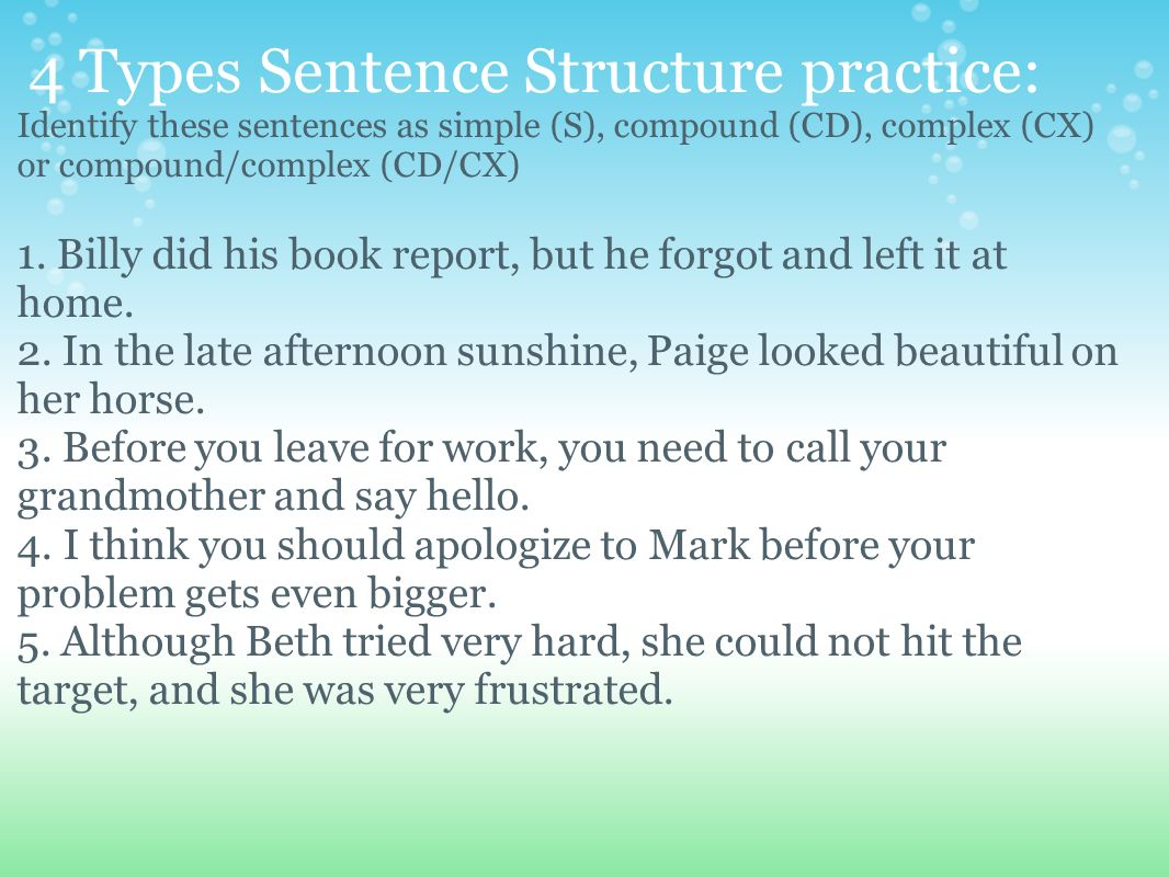Sentence Structure 4 Types Of Sentences