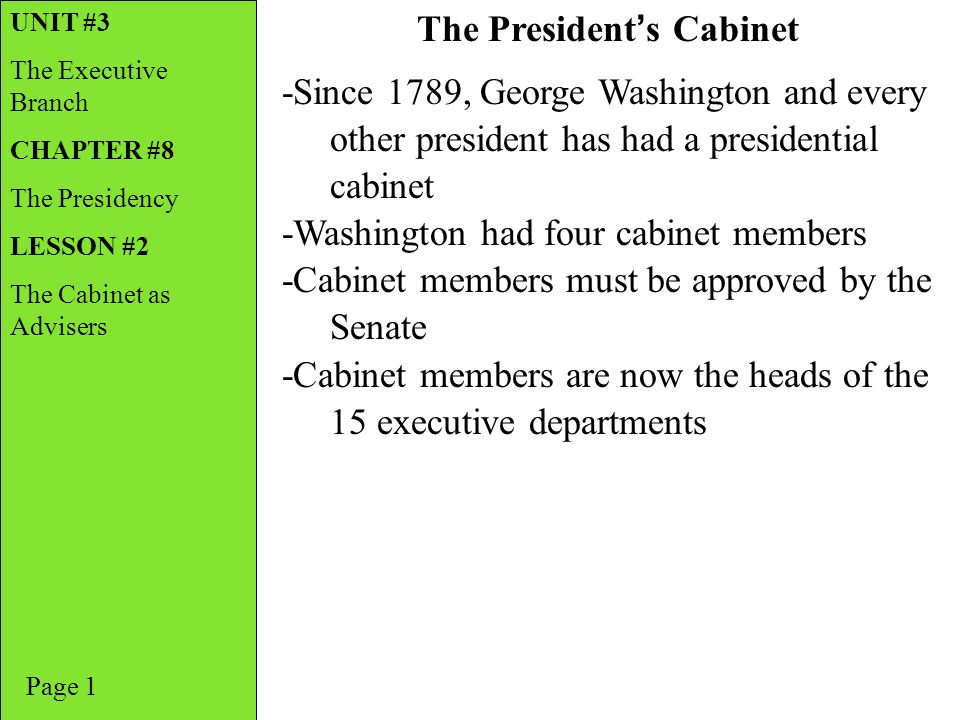The President S Cabinet Executive Branch Departments Worksheet