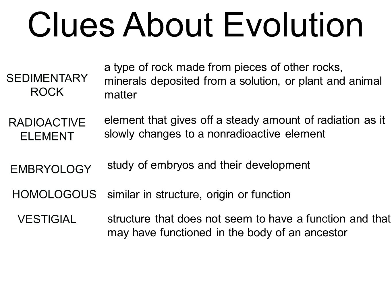 Examples Evolution Embryology