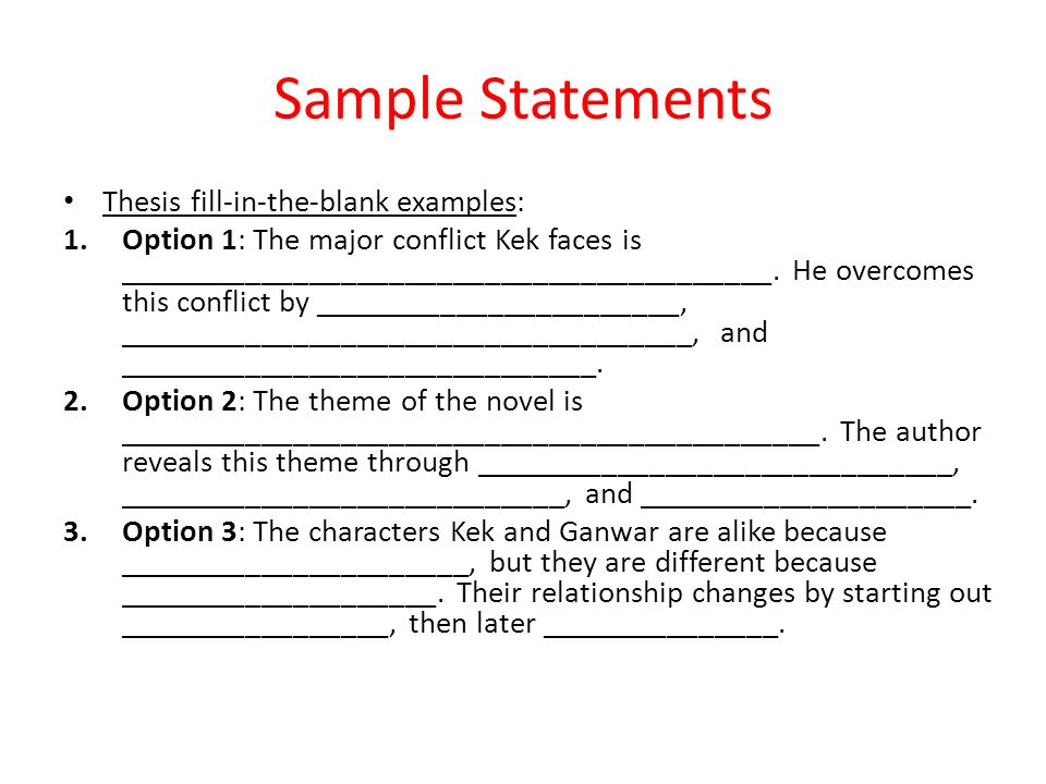 Creating & Using Thesis Statements English 10 B Flashcards