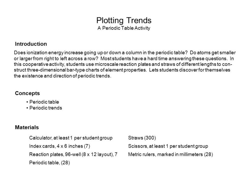 plotting trends a periodic table activity answers - Periodic Table Activity Trends