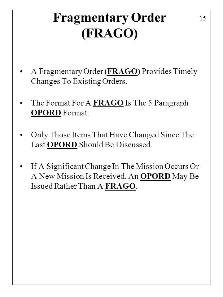 military orders template