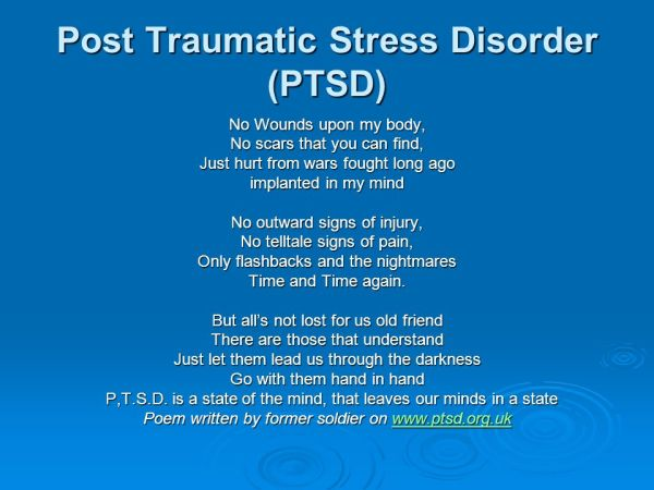 PTSD – Post Traumatic Stress Disorder - ppt video online ...