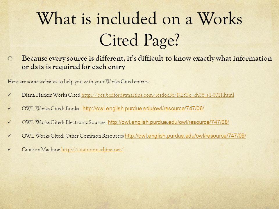 Works Cited Format Websites