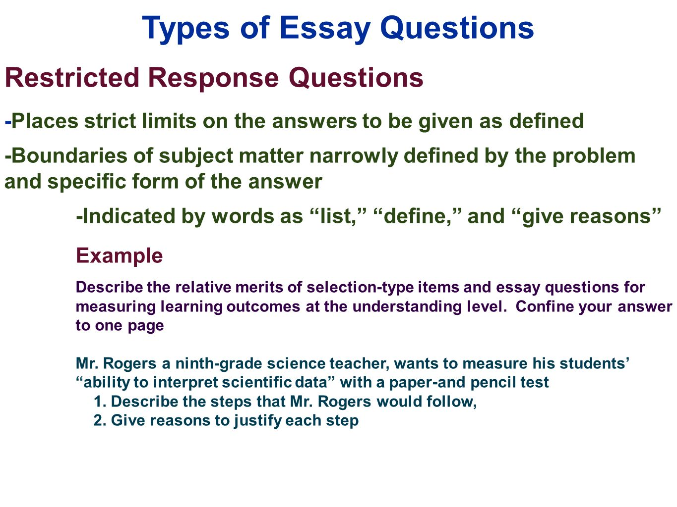 Edu 385 Session 10 Writing Supply Items Short Answer And Essay