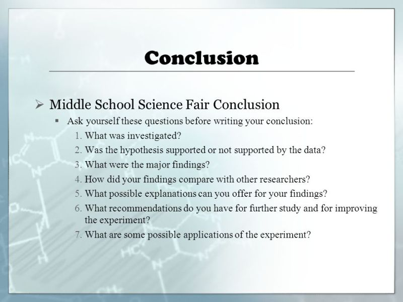 how to write a conclusion for a lab middle school