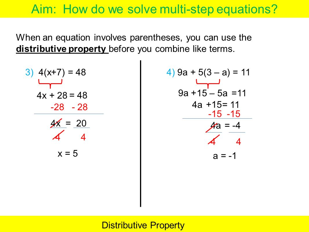 How To Solve Multi Step Equations With Fractions And Distributive Property