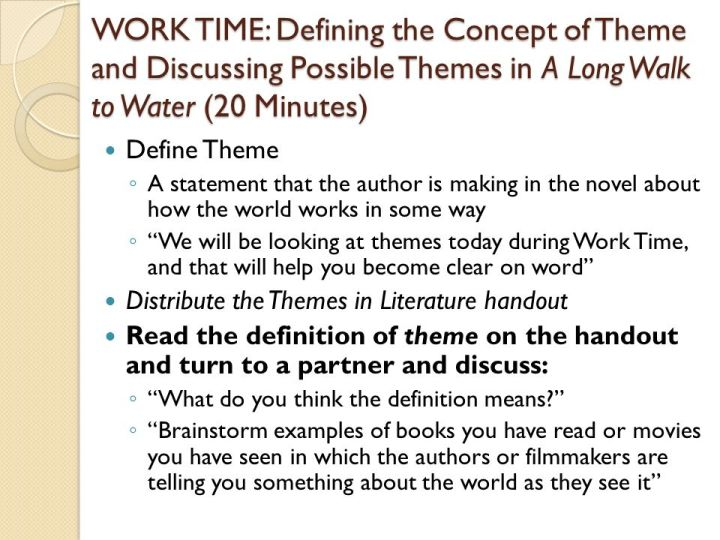 long walk to water themes A discussion of important themes running throughout a long walk to water: based on a true story great supplemental information for school essays and projects.